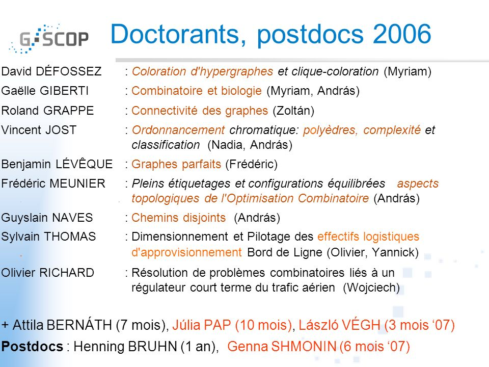 Doctorants, postdocs 2006 David DÉFOSSEZ : Coloration d hypergraphes et clique-coloration (Myriam)