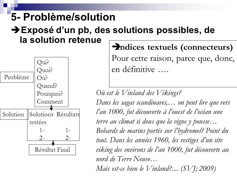5- Problème/solution Exposé d'un pb, des solutions possibles, de la solution retenue. Indices textuels (connecteurs)