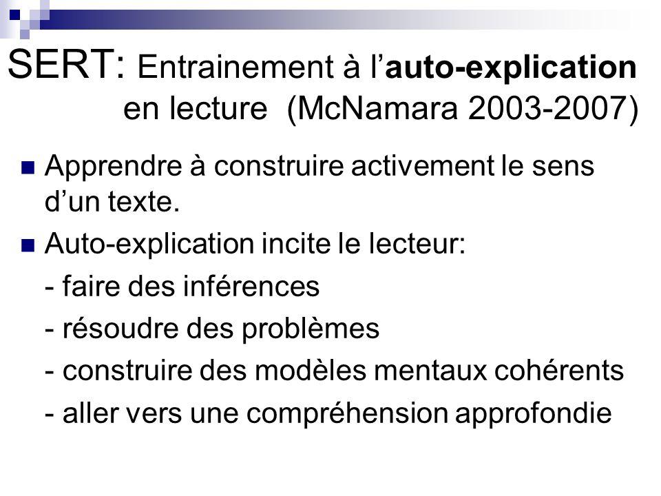 SERT: Entrainement à l'auto-explication en lecture (McNamara 2003-2007)