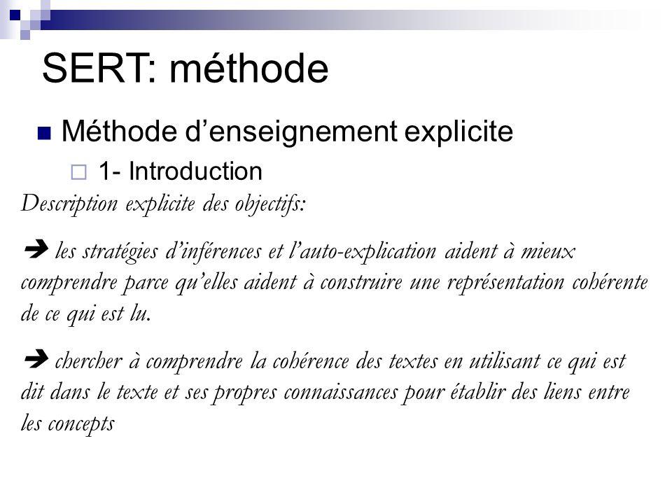 SERT: méthode Méthode d'enseignement explicite 1- Introduction