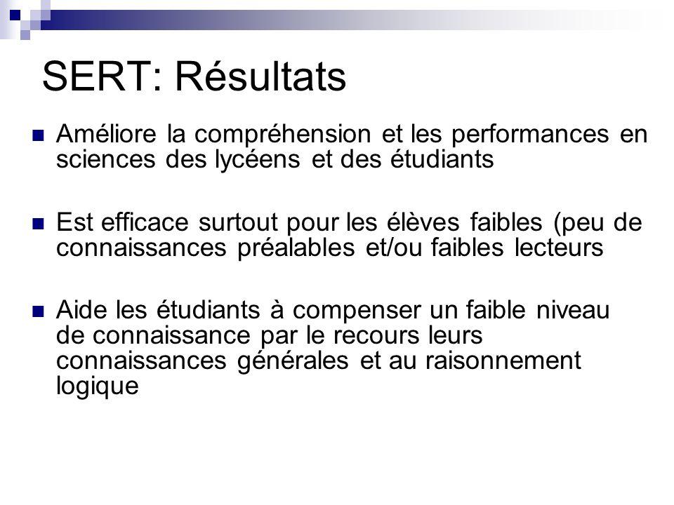 SERT: Résultats Améliore la compréhension et les performances en sciences des lycéens et des étudiants.