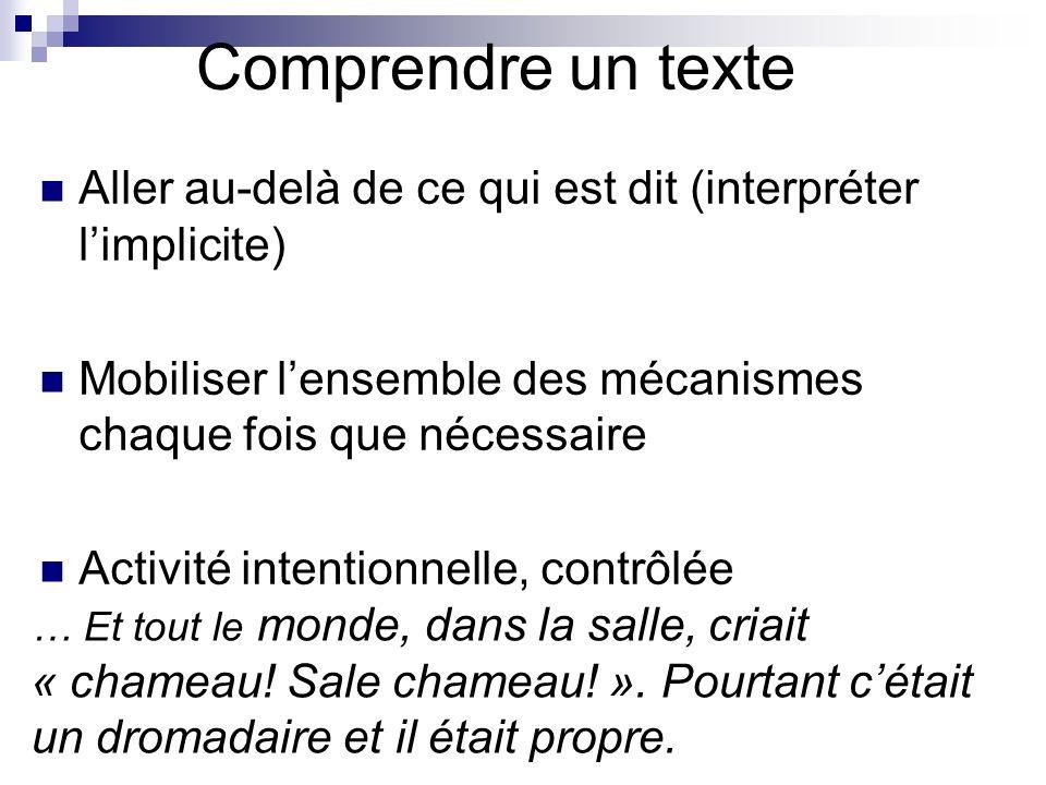 Comprendre un texte Aller au-delà de ce qui est dit (interpréter l'implicite) Mobiliser l'ensemble des mécanismes chaque fois que nécessaire.