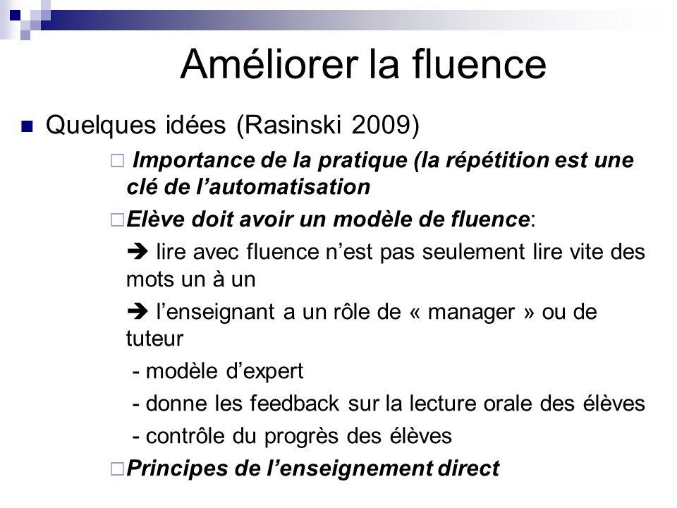 Améliorer la fluence Quelques idées (Rasinski 2009)