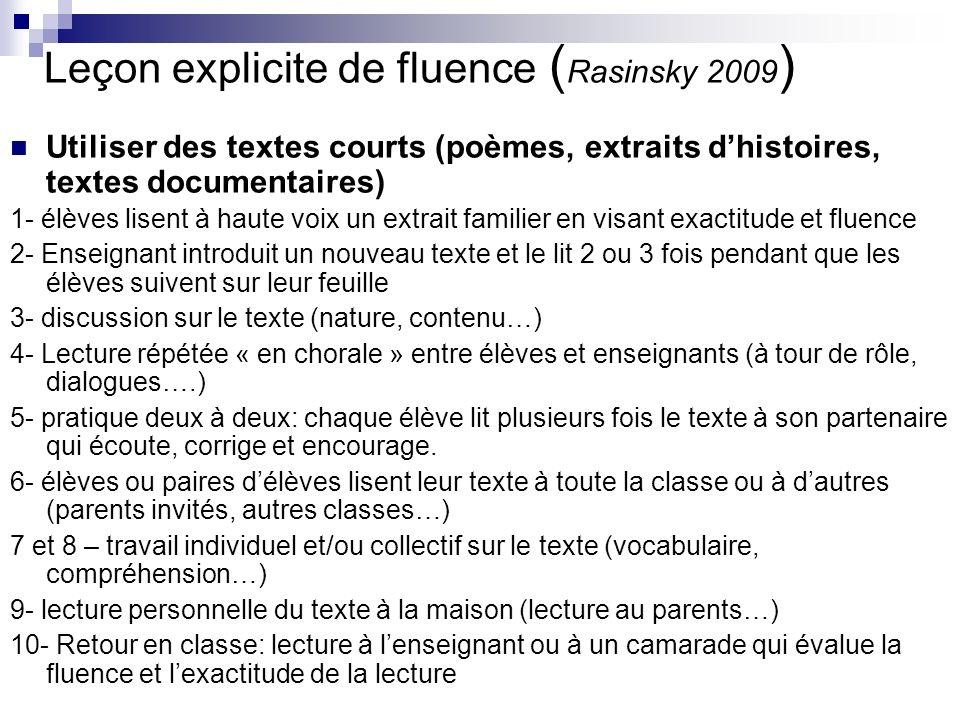 Leçon explicite de fluence (Rasinsky 2009)