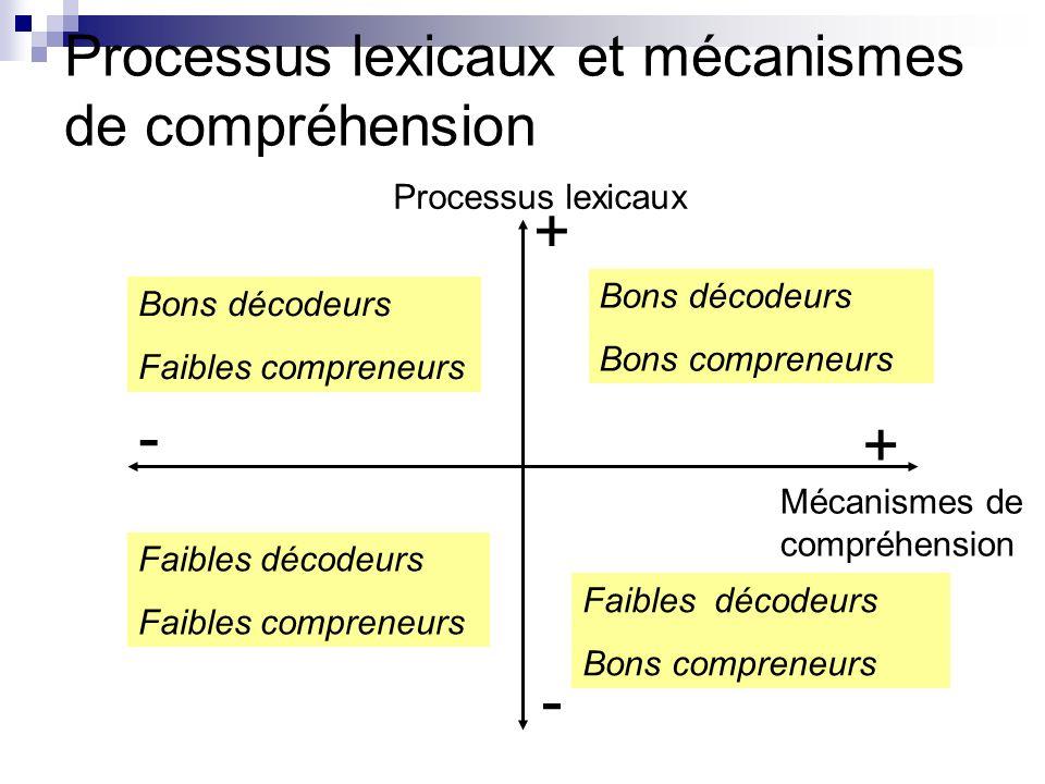 Processus lexicaux et mécanismes de compréhension