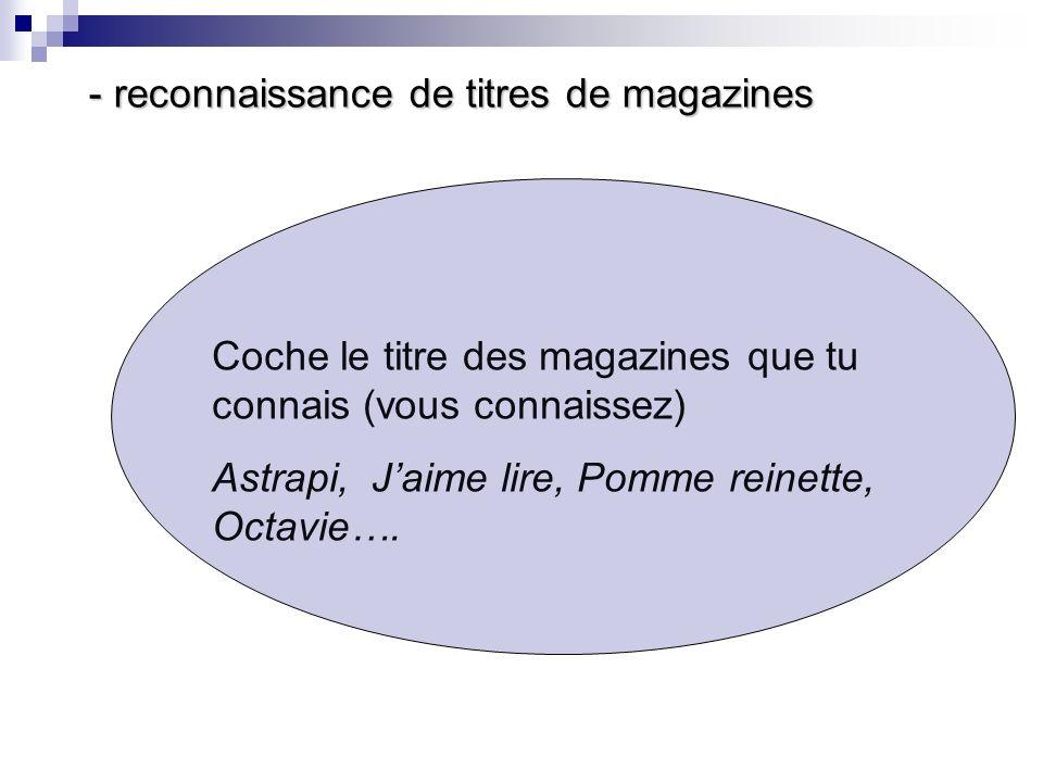 - reconnaissance de titres de magazines