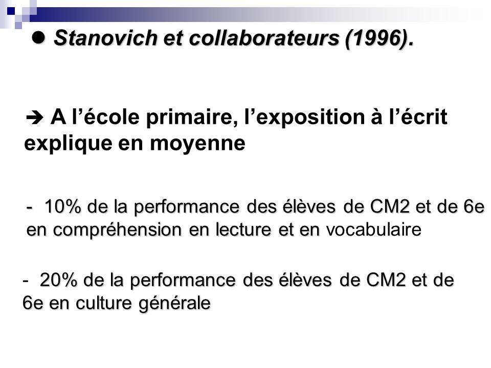 Stanovich et collaborateurs (1996).