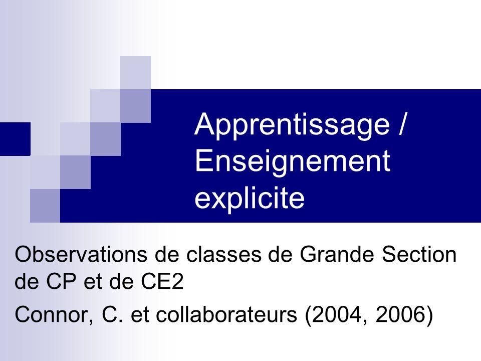 Apprentissage / Enseignement explicite
