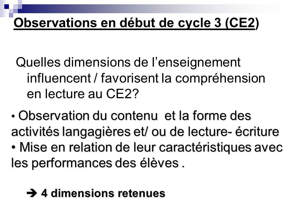 Observations en début de cycle 3 (CE2)