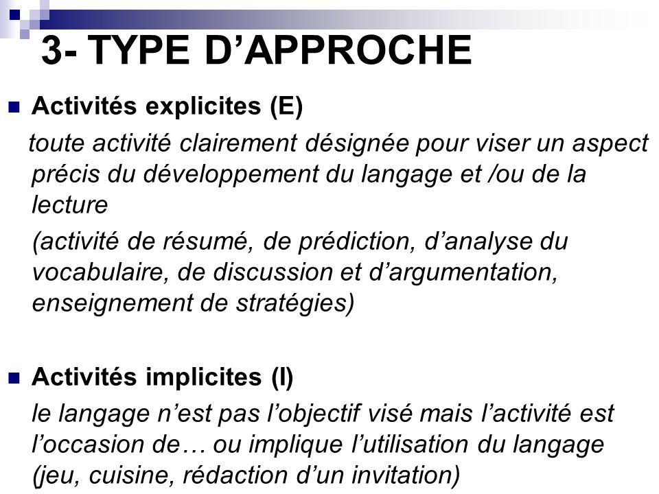 3- TYPE D'APPROCHE Activités explicites (E)