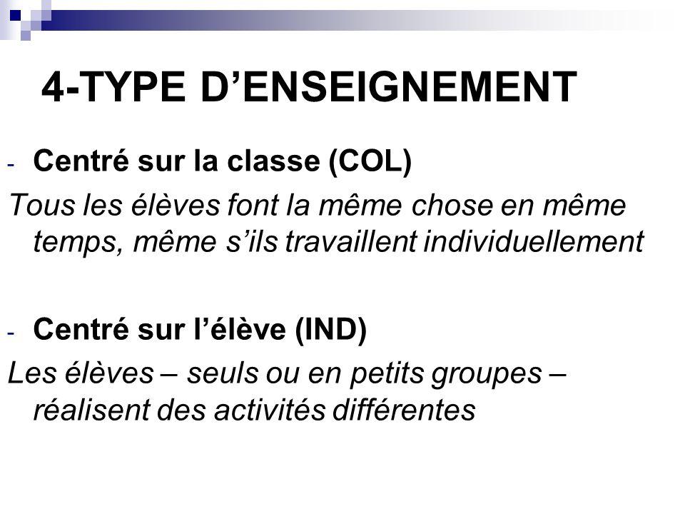 4-TYPE D'ENSEIGNEMENT Centré sur la classe (COL)