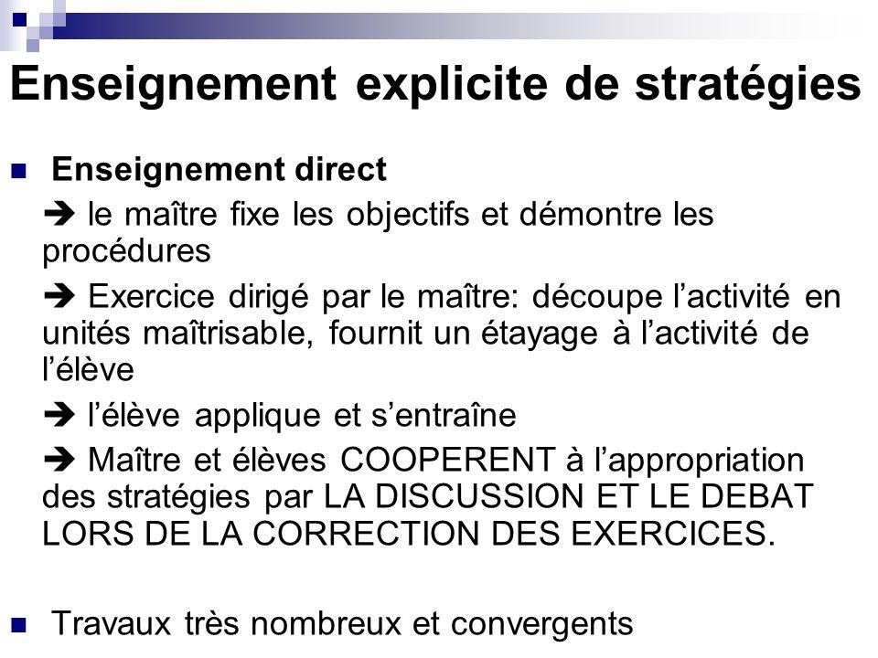 Enseignement explicite de stratégies