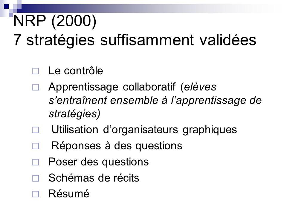 NRP (2000) 7 stratégies suffisamment validées
