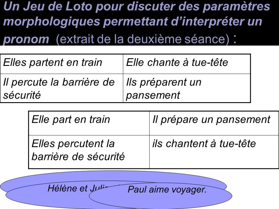 Un Jeu de Loto pour discuter des paramètres morphologiques permettant d'interpréter un pronom (extrait de la deuxième séance) :