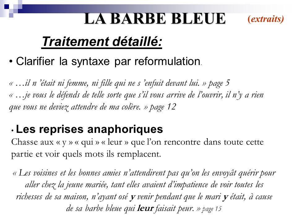 LA BARBE BLEUE Traitement détaillé: