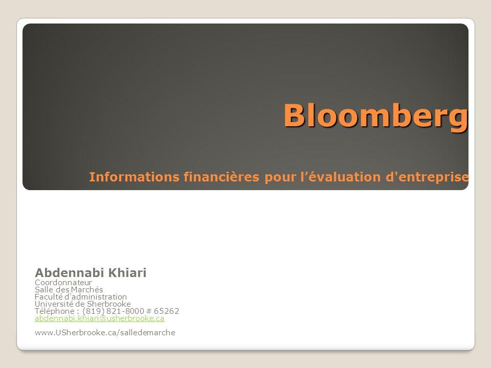 Bloomberg Informations financières pour l'évaluation d entreprise