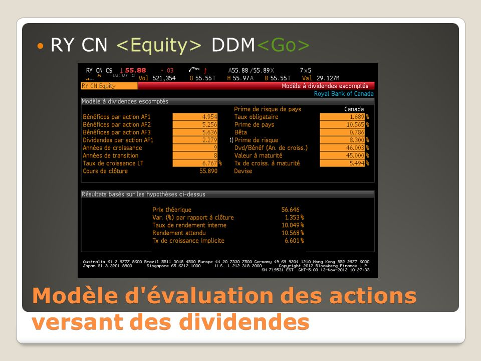 Modèle d évaluation des actions versant des dividendes