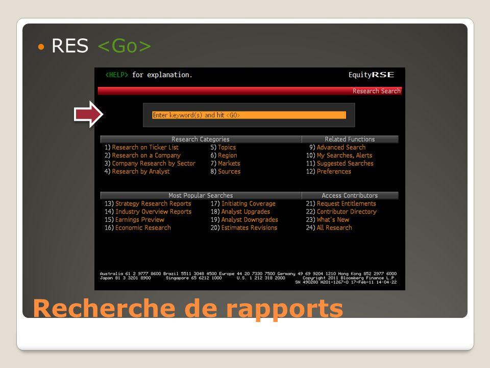 RES <Go> Recherche de rapports