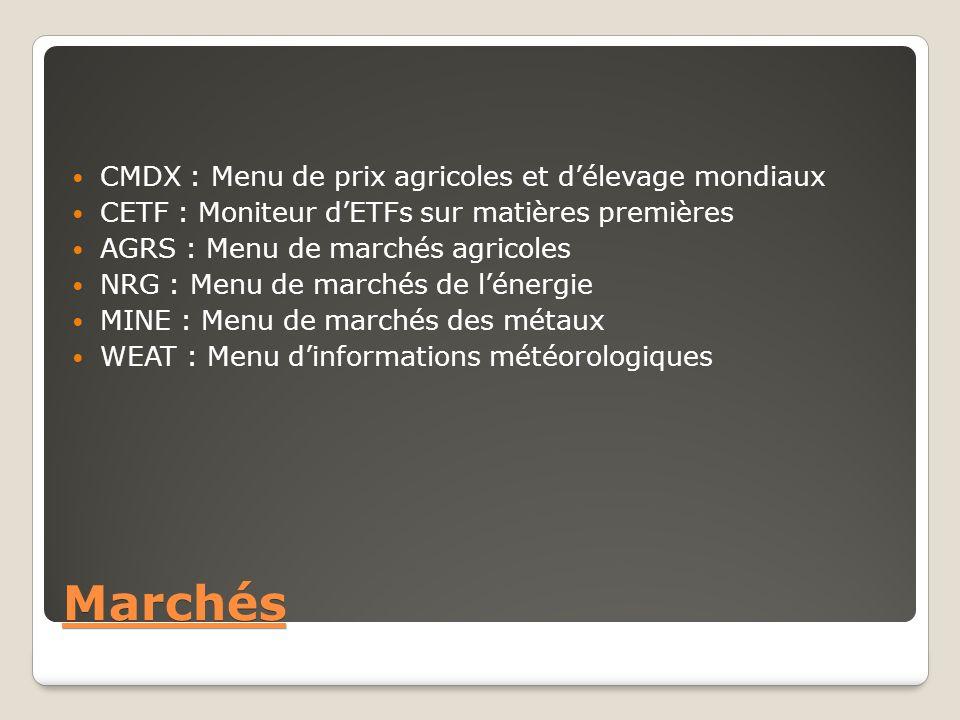 Marchés CMDX : Menu de prix agricoles et d'élevage mondiaux