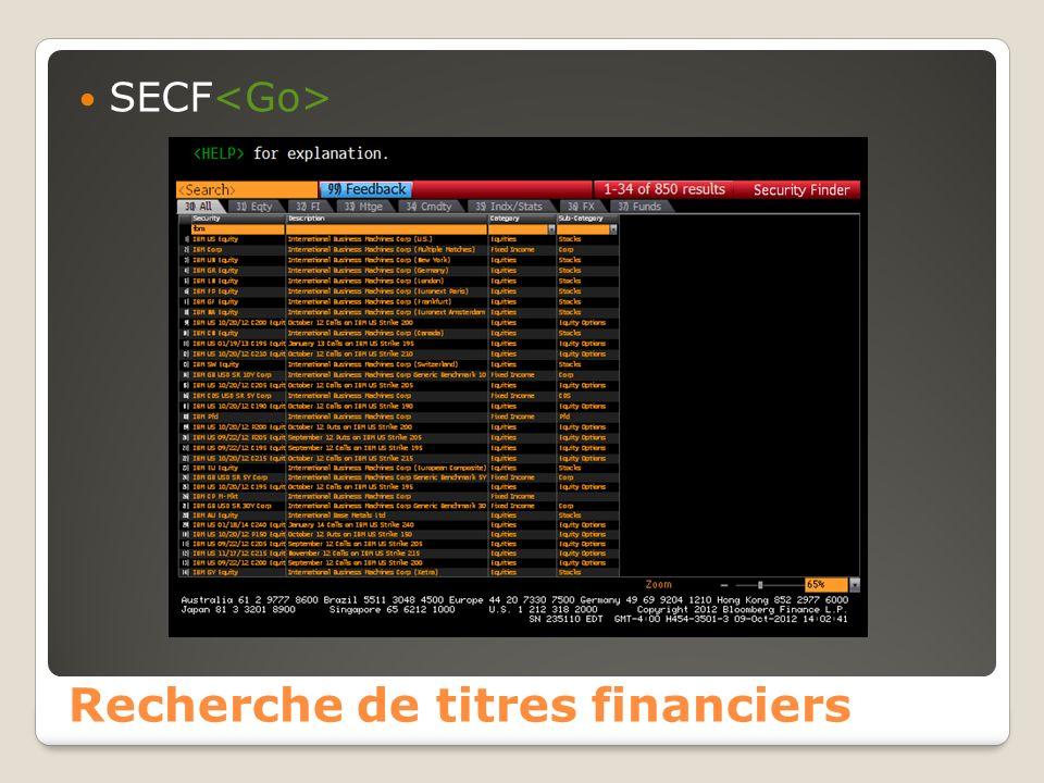 Recherche de titres financiers