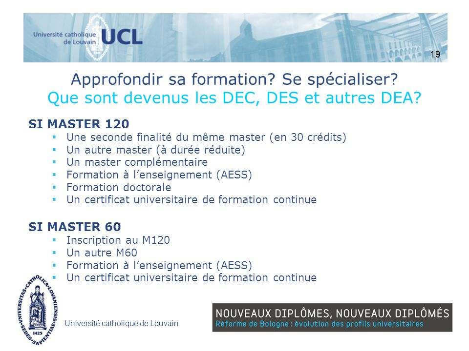 19 Approfondir sa formation Se spécialiser Que sont devenus les DEC, DES et autres DEA SI MASTER 120.
