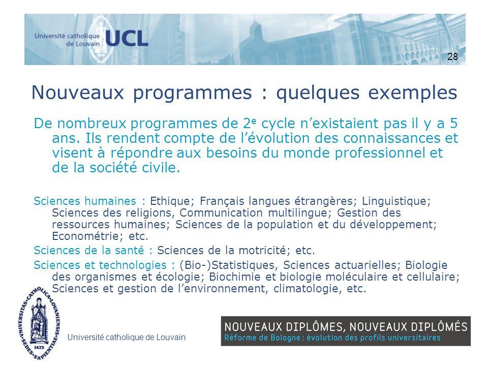 Nouveaux programmes : quelques exemples