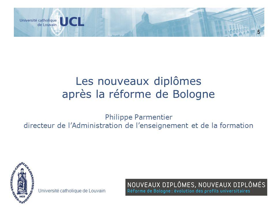 5 Les nouveaux diplômes après la réforme de Bologne Philippe Parmentier directeur de l'Administration de l'enseignement et de la formation.
