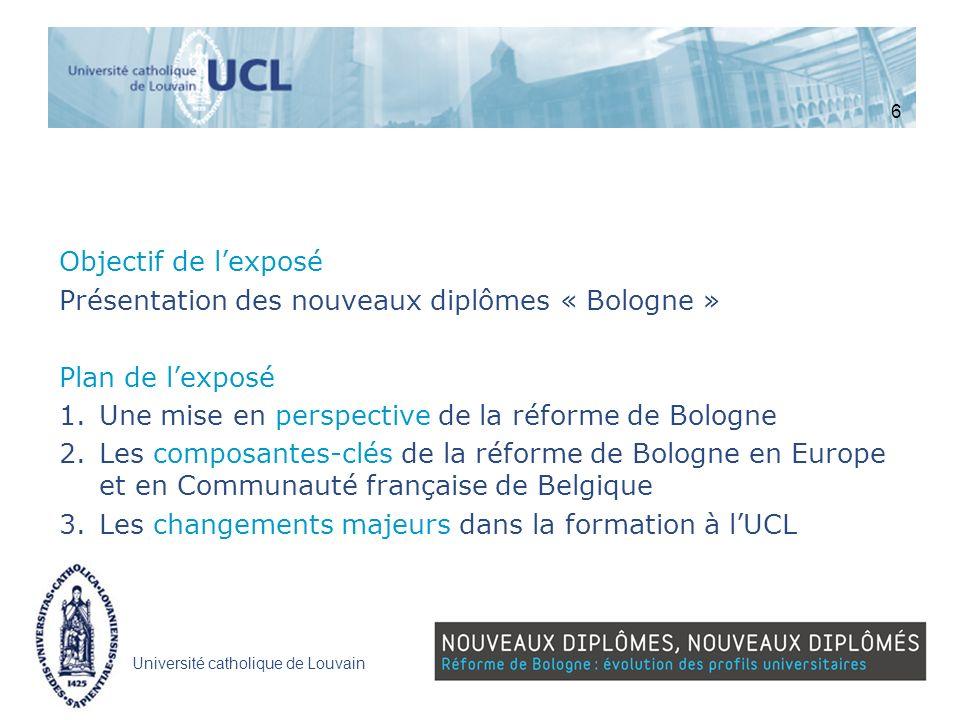 Présentation des nouveaux diplômes « Bologne » Plan de l'exposé