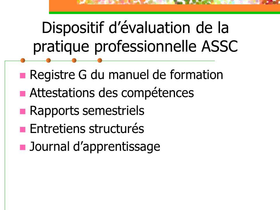 Dispositif d'évaluation de la pratique professionnelle ASSC