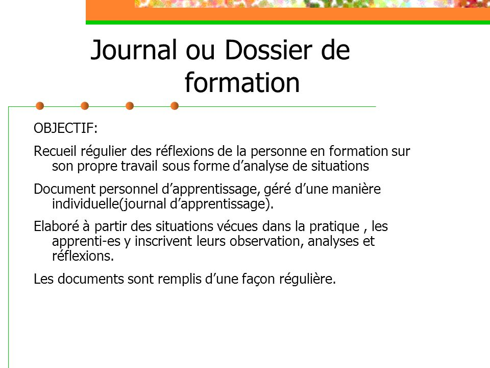 Journal ou Dossier de formation
