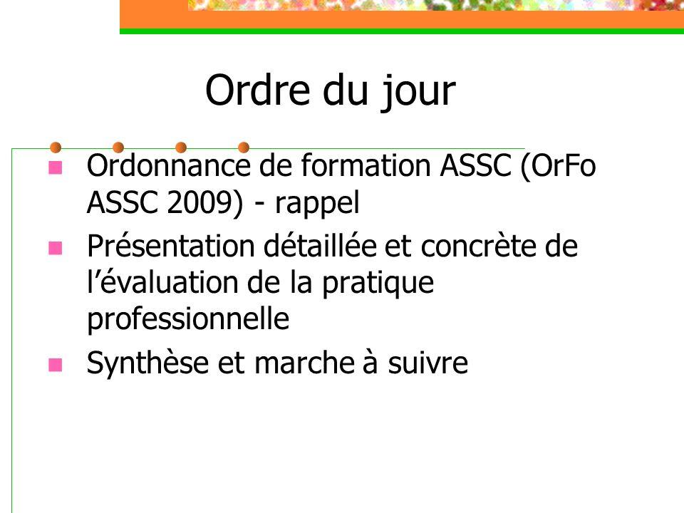 Ordre du jour Ordonnance de formation ASSC (OrFo ASSC 2009) - rappel