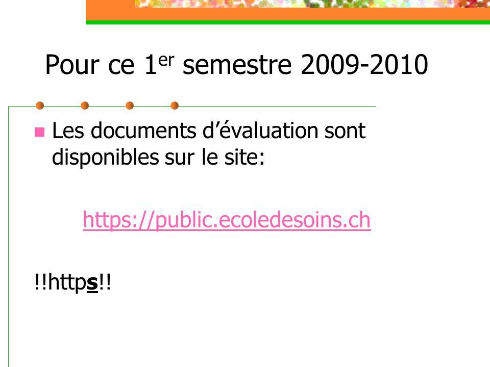 Pour ce 1er semestre 2009-2010 Les documents d'évaluation sont disponibles sur le site: https://public.ecoledesoins.ch.