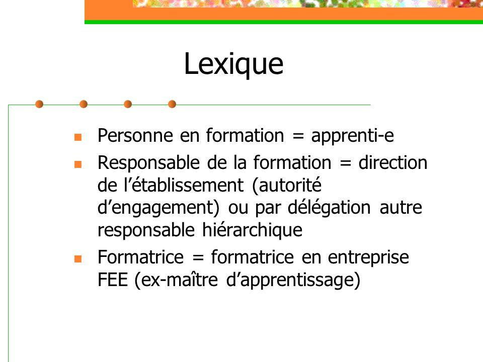Lexique Personne en formation = apprenti-e