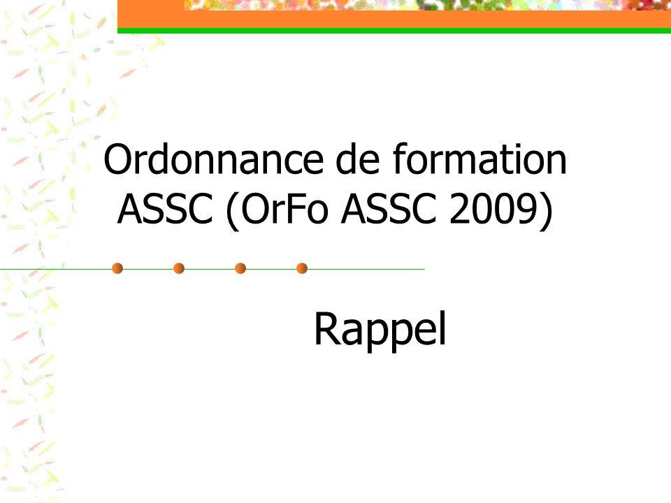 Ordonnance de formation ASSC (OrFo ASSC 2009)
