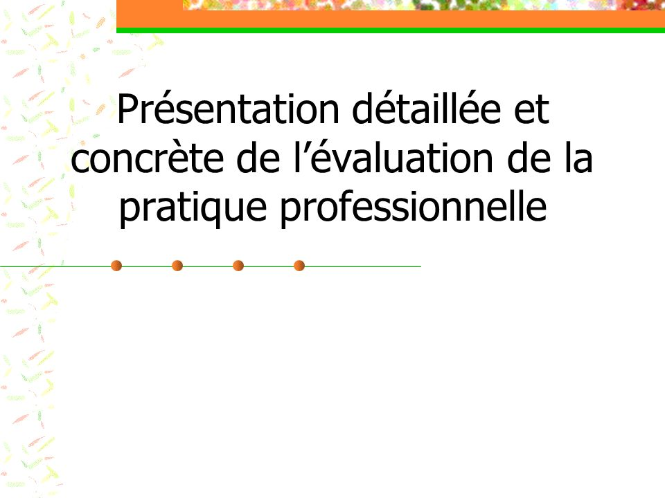 Présentation détaillée et concrète de l'évaluation de la pratique professionnelle