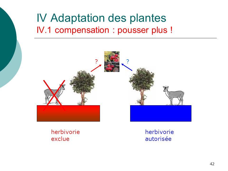 IV Adaptation des plantes IV.1 compensation : pousser plus !