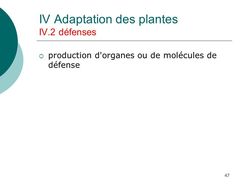 IV Adaptation des plantes IV.2 défenses