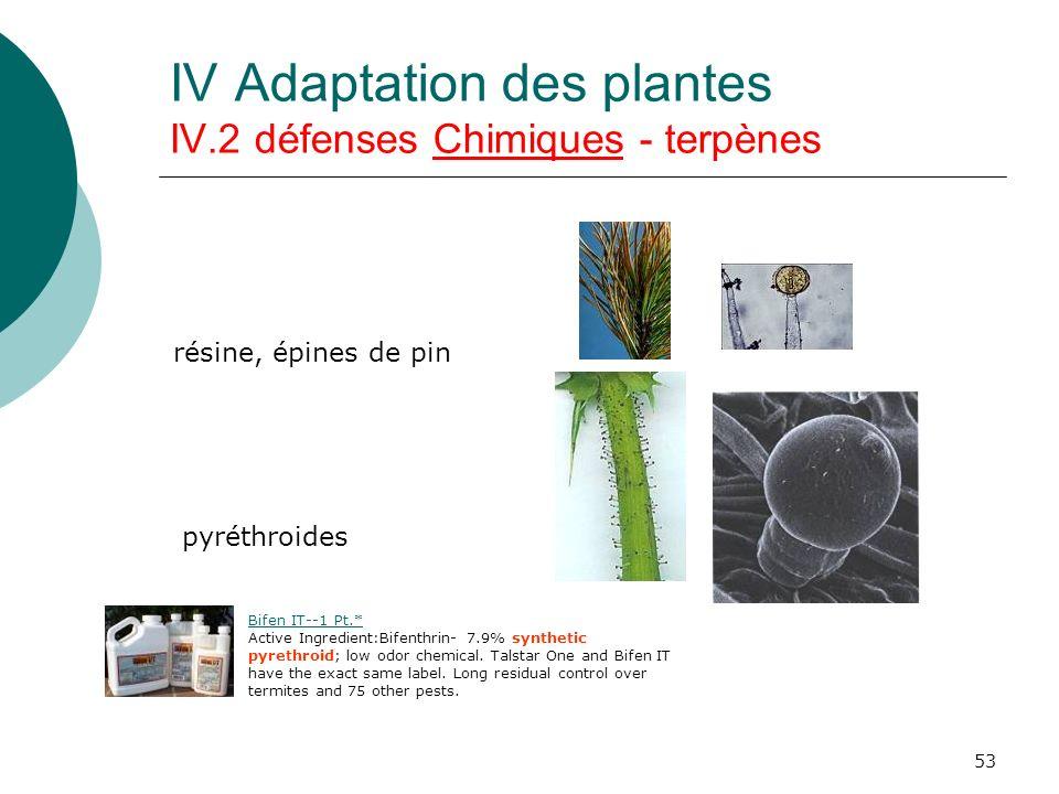 IV Adaptation des plantes IV.2 défenses Chimiques - terpènes