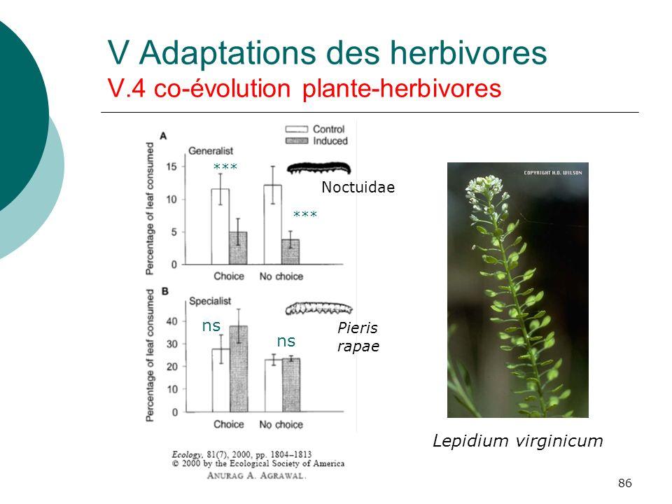 V Adaptations des herbivores V.4 co-évolution plante-herbivores