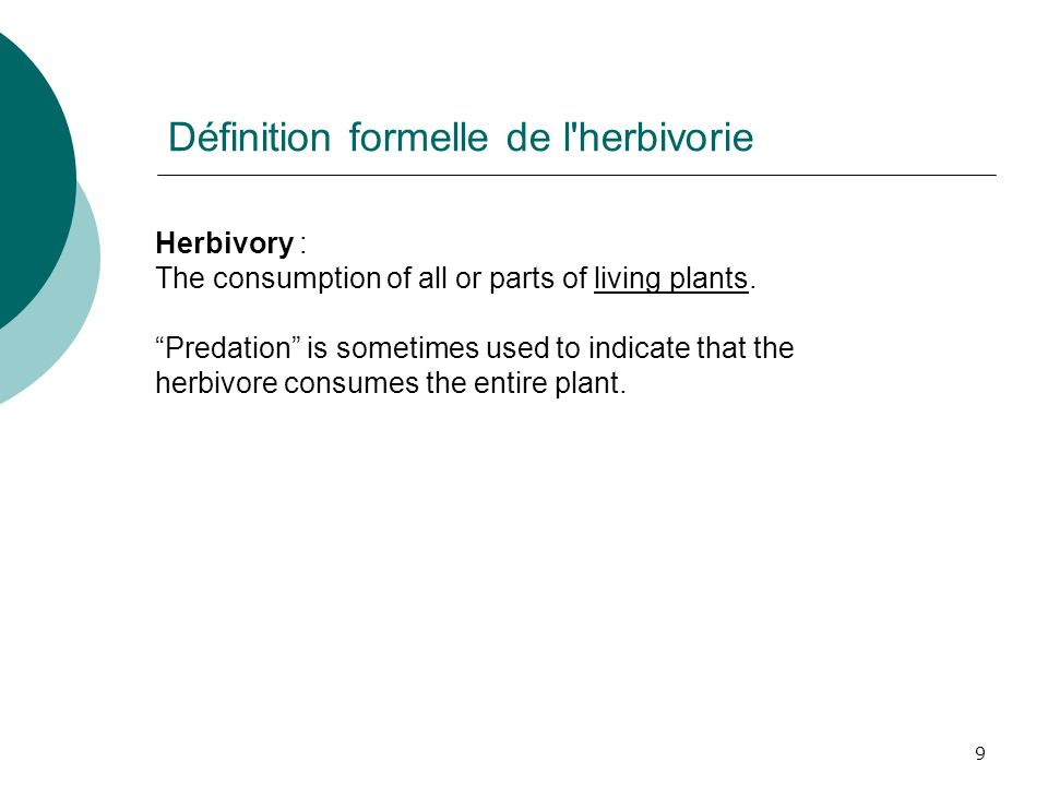 Définition formelle de l herbivorie