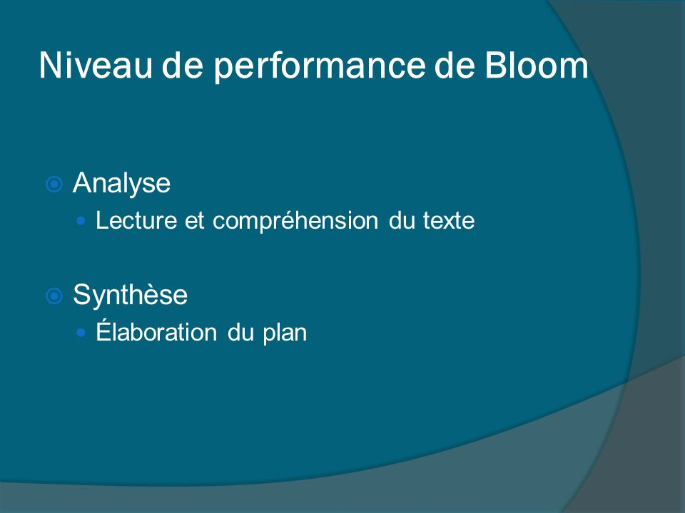 Niveau de performance de Bloom