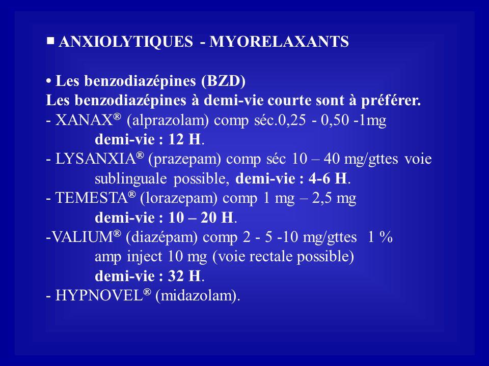 ■ ANXIOLYTIQUES - MYORELAXANTS