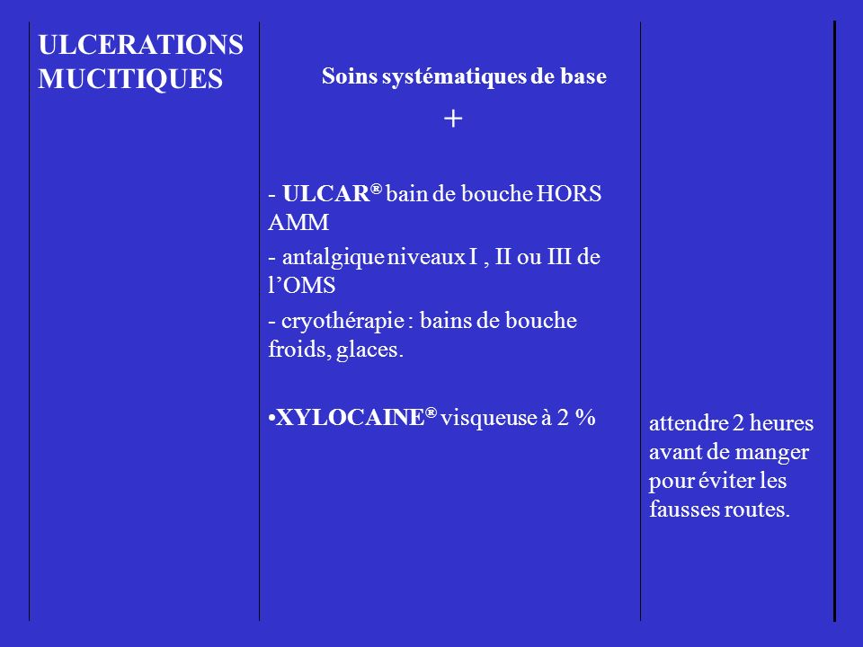 + ULCERATIONS MUCITIQUES Soins systématiques de base