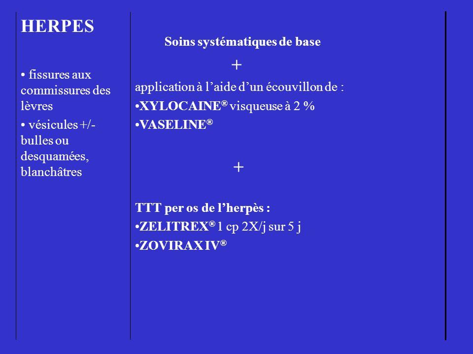 HERPES + fissures aux commissures des lèvres