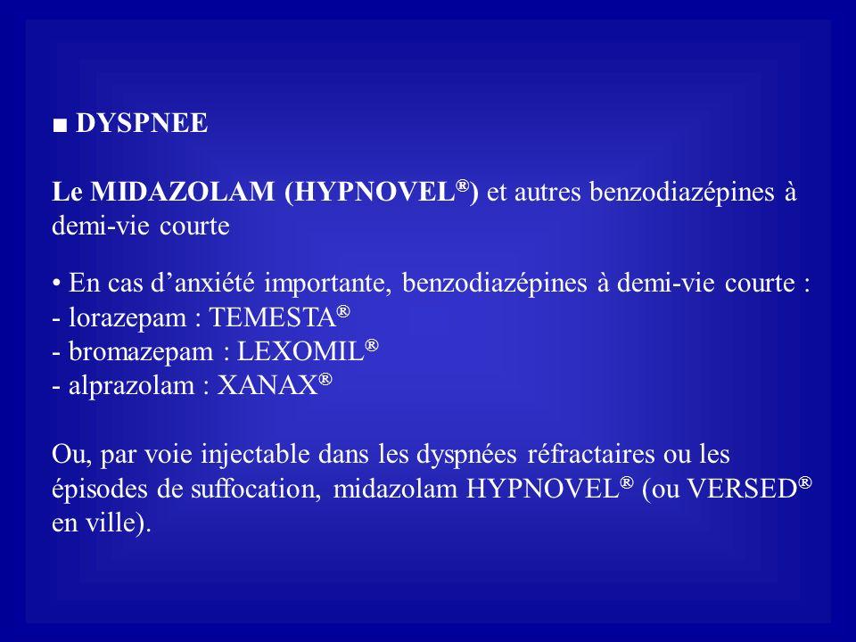 ■ DYSPNEE Le MIDAZOLAM (HYPNOVEL®) et autres benzodiazépines à demi-vie courte. • En cas d'anxiété importante, benzodiazépines à demi-vie courte :