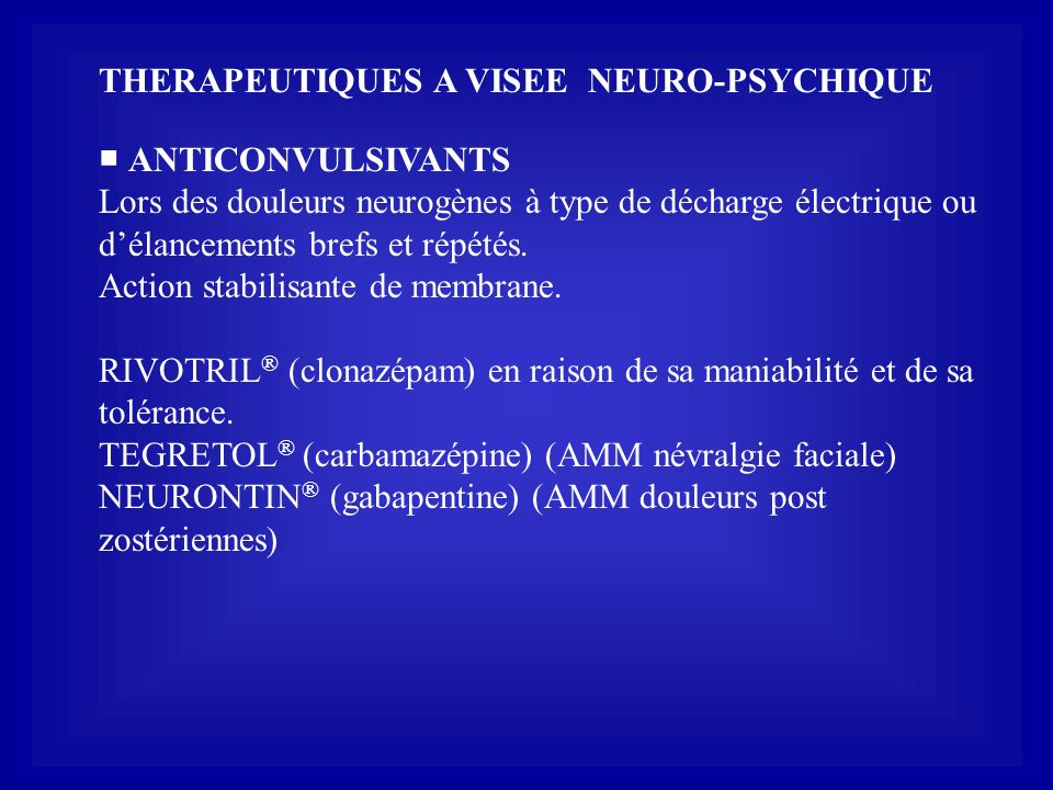 THERAPEUTIQUES A VISEE NEURO-PSYCHIQUE