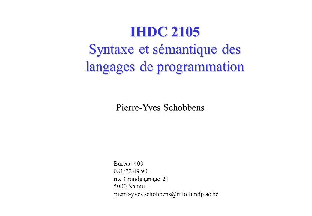 Syntaxe et sémantique des langages de programmation