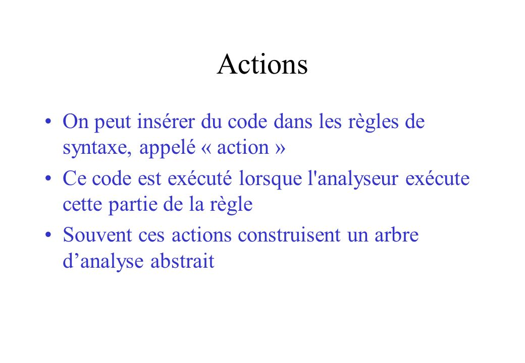 Actions On peut insérer du code dans les règles de syntaxe, appelé « action »