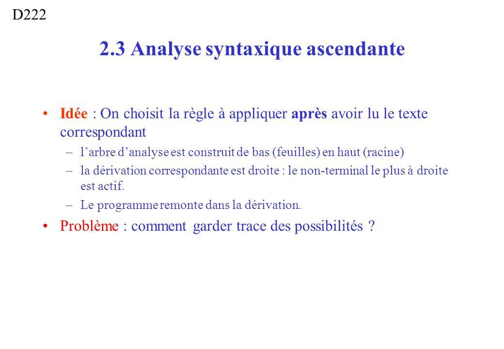 2.3 Analyse syntaxique ascendante