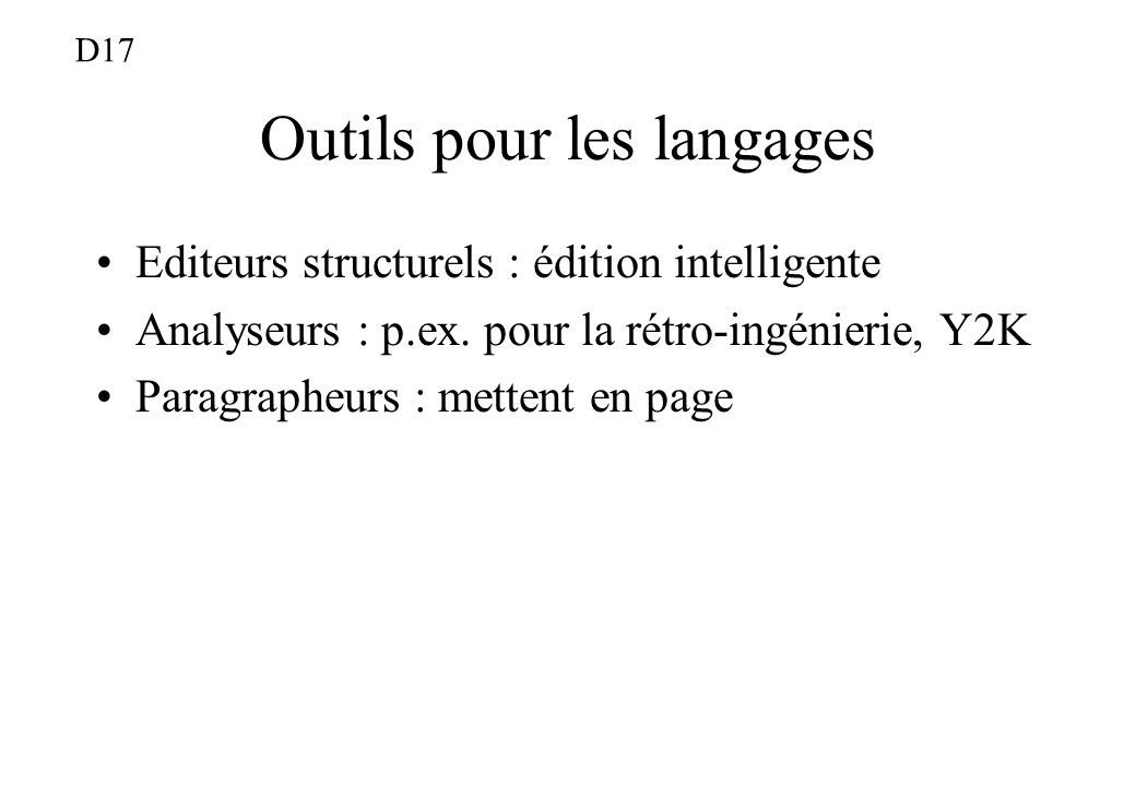 Outils pour les langages